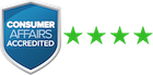 Consumer Affarirs Logo with 4.5 star overall satisfaction rating